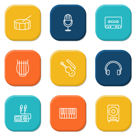 drumming: Collection Of Headphones, Amplifier, Fiddle And Other Elements.  Set Of 9 Song Outline Icons Set.