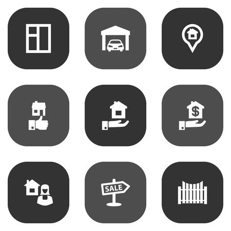 Sammlung des Immobilienmaklers, des Flügels, des Eigentums und anderer Elemente. Set von 9 Estate Icons Set. Standard-Bild - 86225162