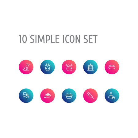 Collection Of Pile Of Poo, Sitting, Bowl And Other Elements.  Set Of 10 Animals Outline Icons Set.