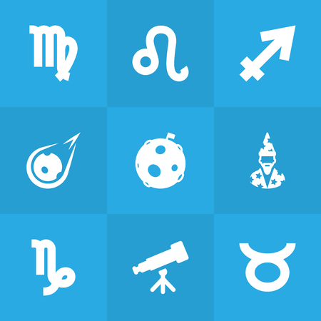 Collection Of Lunar, Goat, Bull And Other Elements.  Set Of 9 Astronomy Icons Set. Illustration