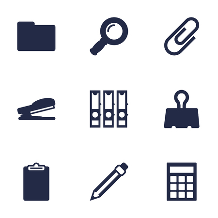 school: Collection Of Zoom Glasses, Calculate, Puncher And Other Elements.  Set Of 9 Stationery Icons Set. Illustration