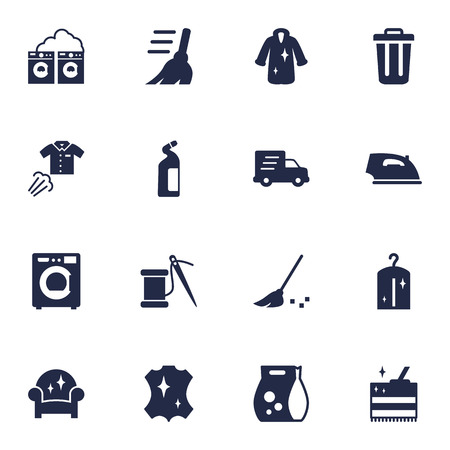 Collection Of Sewing, Besom, Garbage Container And Other Elements.  Set Of 16 Cleanup Icons Set. Illustration