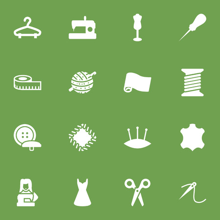Collection Of Cutter, Eyelet, Clothier And Other Elements.  Set Of 16 Sewing Icons Set.