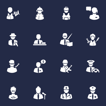 Collection Of Producer, Medic, Military And Other Elements.  Set Of 16 Job Icons Set.