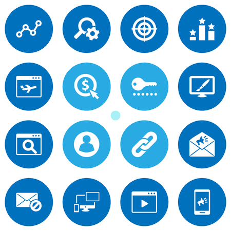 advantages: Collection Of Marketing, Click, Guest And Other Elements.  Set Of 16 Optimization Icons Set.