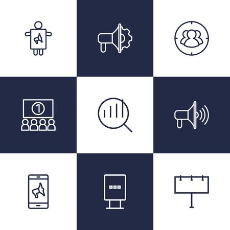 Verzameling van promotie, doelwit, reclamebureau en andere elementen. Set van 9 reclame overzicht Icons Set.