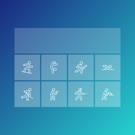 hockey goal: Collection Of Gymnastic, Player, Puck And Other Elements.  Set Of 8 Athletic Outline Icons Set.