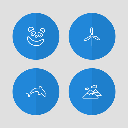 Collection Of Mountain, Panda, Electric Mill Elements.  Set Of 4 Bio Outline Icons Set.