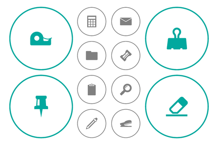 school: Collection Of Information, Mail, Drawing And Other Elements.  Set Of 12 Instruments Icons Set.