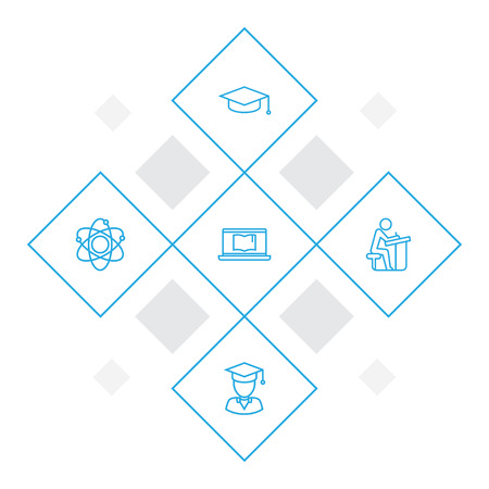 Collection Of Graduation Cap, Atom, Pupil And Other Elements.  Set Of 5 Education Outline Icons Set. Illustration