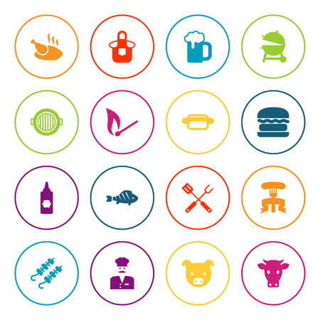 Collection Of Equipment, Swine, Brazier And Other Elements.  Set Of 16 Bbq Icons Set.