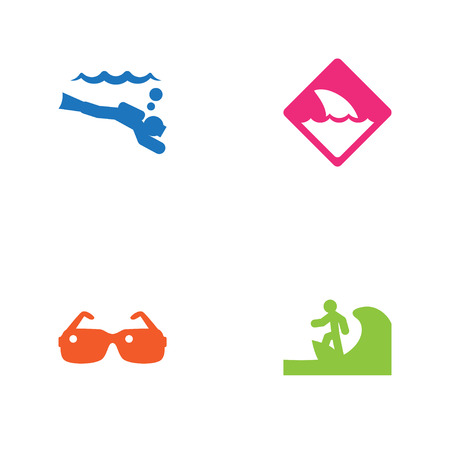 Set Of 4 Coast Icons Set.Collection Of Surfing, Eyeglasses, Scuba Diving And Other Elements.