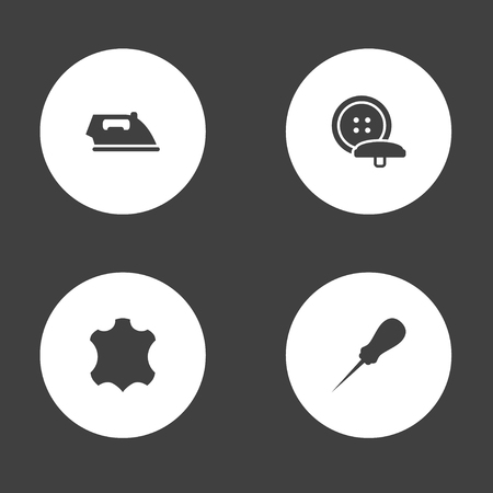 Set Of 4 Tailor Icons Set.Collection Of Tailor, Skin, Flatiron And Other Elements.