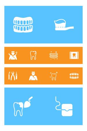 Satz von 12 zahnmedizinischen Ikonen eingestellt Sammlung des Orthodontists, stabilisieren, säubern und andere Elemente. Standard-Bild - 86381177