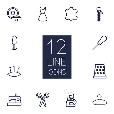 Set Of 12 Sewing Outline Icons Set.Collection Of Dress, Scissors, Dummy And Other Elements.
