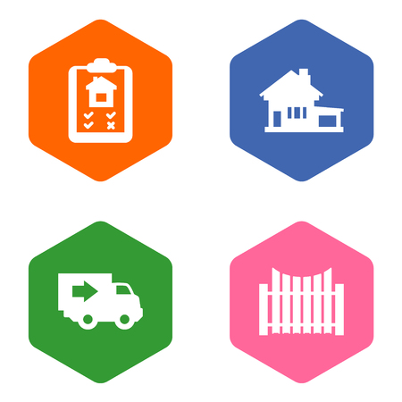 Set Of 4 Real Icons Set.Collection Of Truck, Option, Barrier And Other Elements.