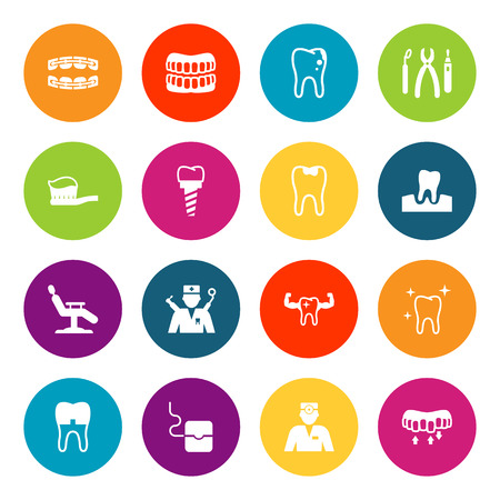 Set Of 16 Dental Icons Set.Collection Of Gingivitis, Halitosis, Decay And Other Elements. Illustration