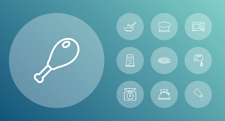 Set Of 10 Cooking Outline Icons Set.Collection Of Grater, Soup, Pizza And Other Elements.