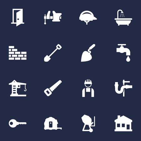 Set Of 16 Construction Icons Set.Collection Of Building Machinery, Bricklayer, Hardhat And Other Elements.