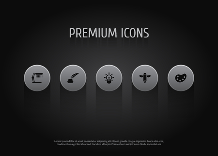 Set Of 5 Constructive Icons Set.Collection Of Artist, Concept, Wings And Other Elements.