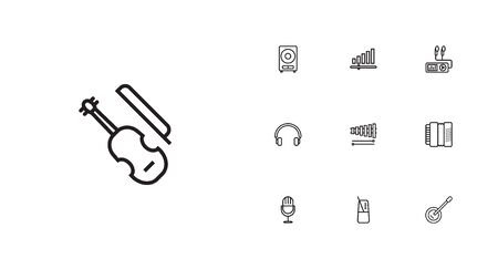 concertina: Set Of 10 Melody Outline Icons Set.Collection Of Loudspeaker, Audio Level, Guitar And Other Elements.