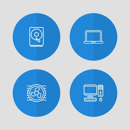 Set Of 4 Notebook Outline Icons Set.Collection Of Notebook, PC, Hdd And Other Elements. Illustration
