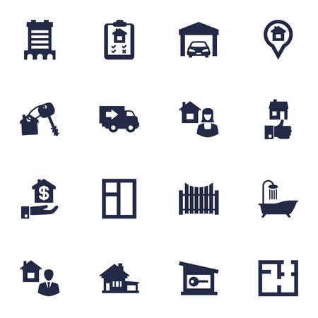 ロック、トラック、家の鍵、その他の要素の 16 のリアル アイコン Set.Collection のセットです。