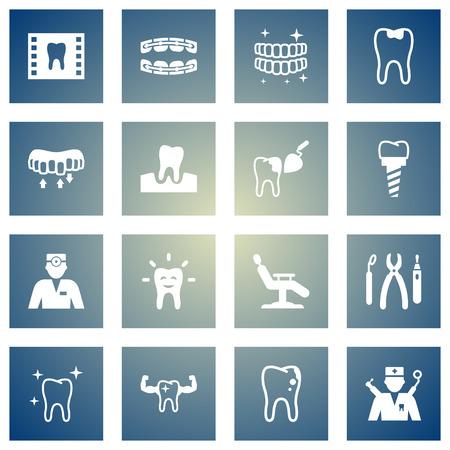 16 치과 의사 아이콘 집합의 집합입니다. 주입, 카 리에 스, Roentgen 및 다른 요소의 컬렉션.