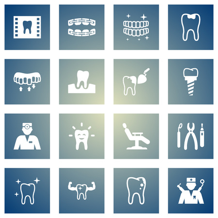 Set Of 16 Dentist Icons Set.Collection Of Implantation, Caries, Roentgen And Other Elements.