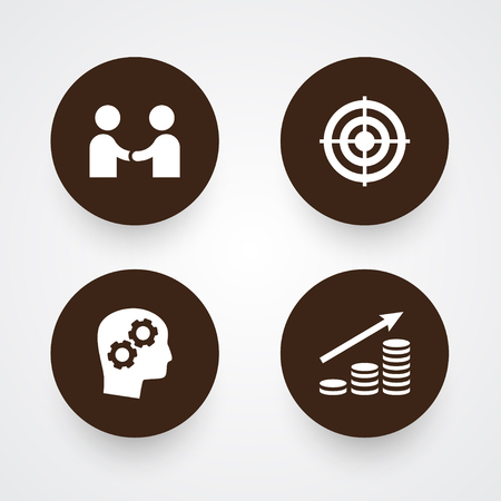 Set Of 4 Startup Icons Set.Collection Of Goal, Money Growth, Thinking Head And Other Elements.