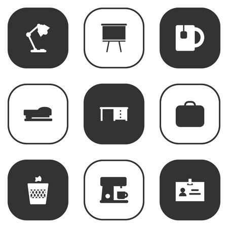 illuminator: Set Of 9 Workspace Icons Set.Collection Of Sew, Illuminator, Desktop And Other Elements.