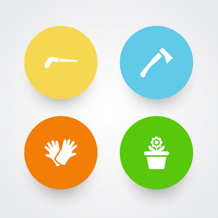 Set Of 4 Horticulture Icons Set.Collection Of Hacksaw, Latex, Axe And Other Elements.