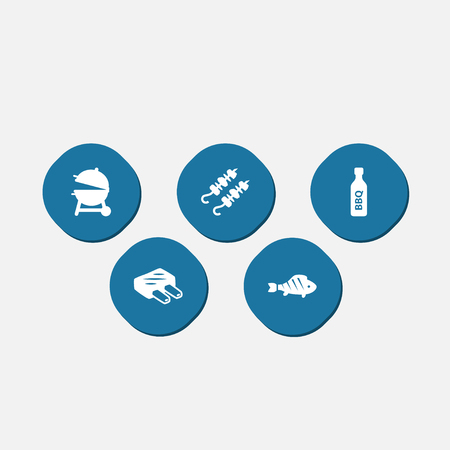 Set Of 5 Bbq Icons Set.Collection Of Bbq Sauce, Brazier, Drumstick And Other Elements.