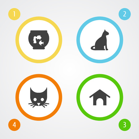 Set Of 4 Animals Icons Set.Collection Of Sitting, Home, Cat And Other Elements.