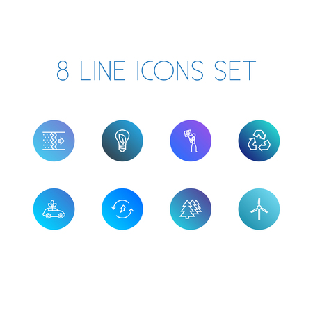 Set Of 8 Atmosphere Outline Icons Set.Collection Of Recycling, Wind Turbine, Afforestation And Other Elements.