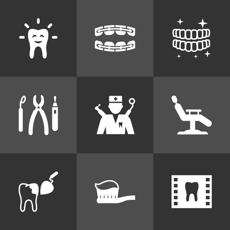 Set Of 9 Teeth Icons Set.Collection Of Procedure, Orthodontist, Armchair And Other Elements.