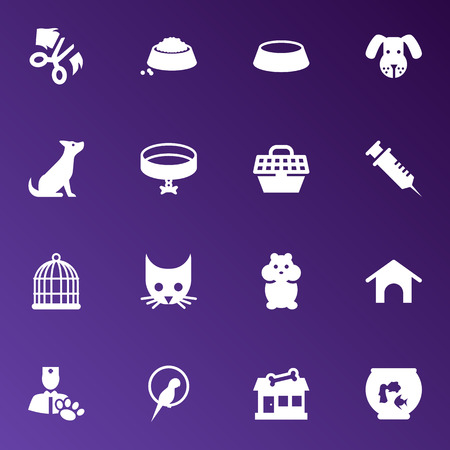 grille: Set Of 16 Animals Icons Set.Collection Of Veterinarian, Rat, Store And Other Elements. Illustration
