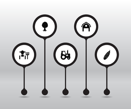 Set Of 5 Agriculture Icons. Çizim