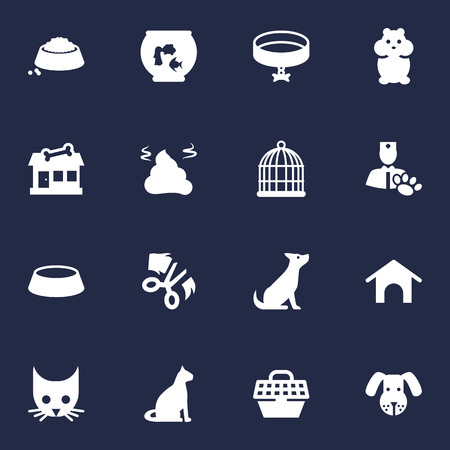 Set Of 16 Pets Icons