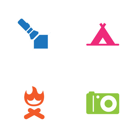 Set Of 4 Picnic Icons Set.Collection Of Photo Camera, Campfire, Tent And Other Elements. Illustration
