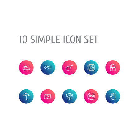 Set Of 10 Security Outline Icons Set.Collection Of Hand , No Entry , Lock Elements.