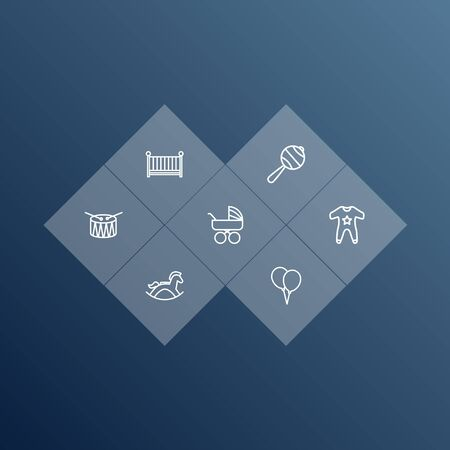 Set Of 7 Child Outline Icons Set.Collection Of Crib, Rattles, Carriage And Other Elements.