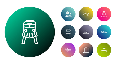 Set Of 10 Journey Outline Icons Set.Collection Of Direction, Palm, Front View Tram And Other Elements. Illustration