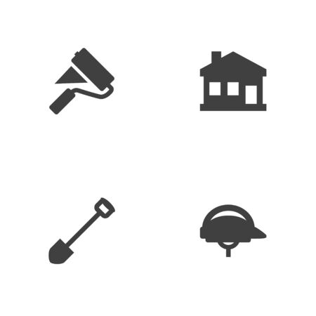 Set Of 4 Architecture Icons Set.Collection Of Paint Roller, Hardhat, Home And Other Elements.