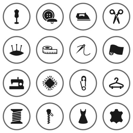 Set Of 16 Tailor Icons Set.Collection Of Embroidered, Eyelet, Pintle And Other Elements.