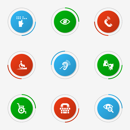 Set Of 9 Accessibility Icons Set.Collection Of Gesture, Tty, Blindness And Other Elements.