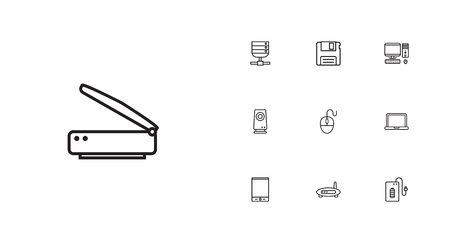 Set Of 10 Laptop Outline Icons Set.Collection Of Computer Mouse, Speaker, Scanner And Other Elements.