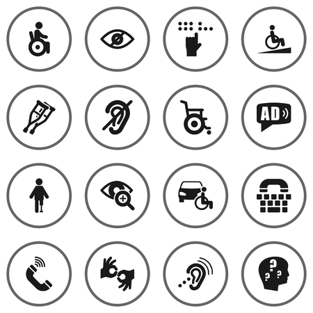 Set Of 16 Accessibility Icons Set.Collection Of Stand, Braille, Lens Elements. Illustration