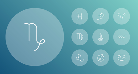 Set Of 10 Astronomy Outline Icons Set.Collection Of Capricorn, Constellation, Astrologer And Other Elements. Illustration