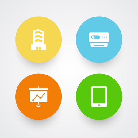 Set Of 4 Bureau Icons Set.Collection Of Palmtop, Videoconference, Metropolis And Other Elements.
